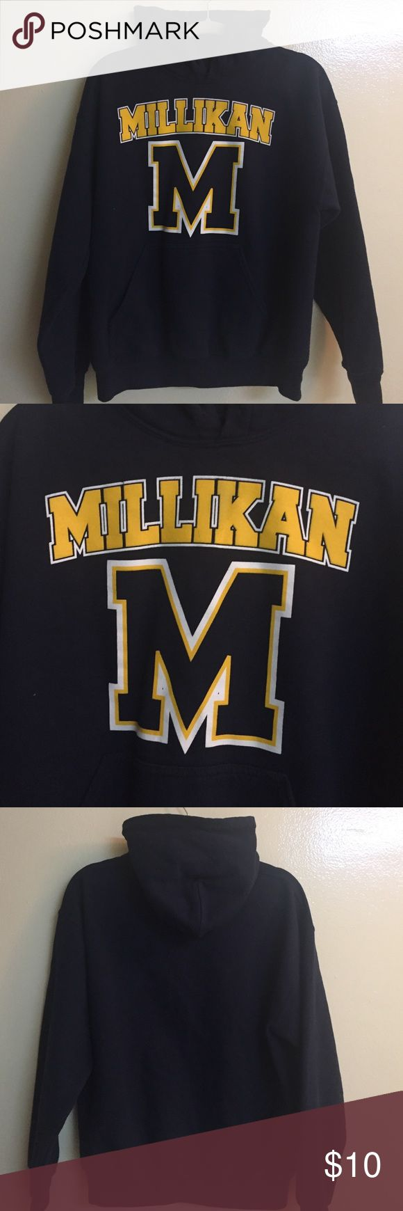 Millikan High School Navy Blue Pullover Sweatshirt This is a navy blue pullover high school sweatshirt for a school in Long Beach, California. It is like new except hood string is missing. This is super cute, soft and very warm. It is made of 50% Polyester and 50% Algodon Cotton. Gilden Tops Sweatshirts & Hoodies