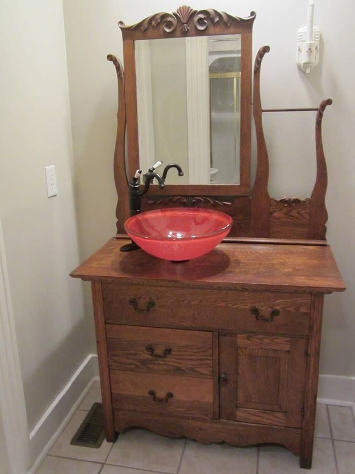 Antique Wash Stand Made Into A Vanity With Red Glass Vessel Sink Stonebathroomsink Shabby Chic Bathroom Antique Wash Stand Primitive Bathrooms