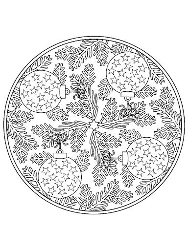 ☮ American Hippie Art ~ Coloring Page .. Mandala - Christmas Ornaments