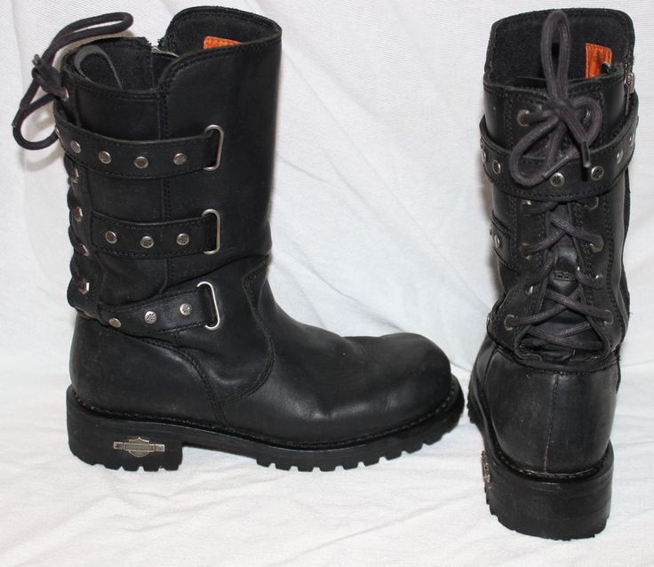 Harley Davidson Womens Riding Boots 9 Corset Billie Black Biker ...