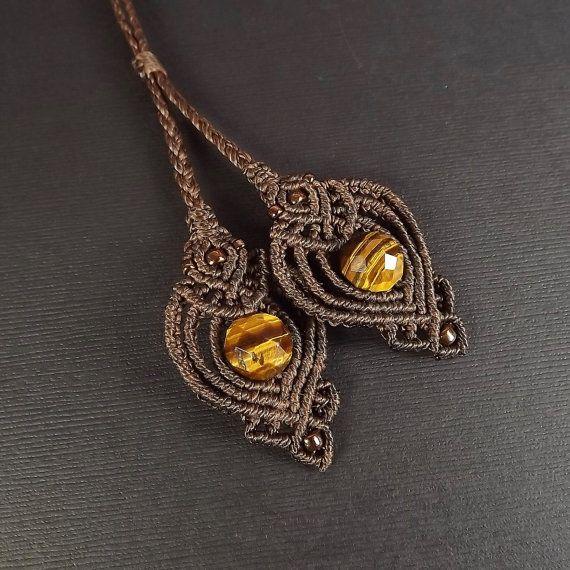 Macrame color oro cuarzo rutilado collar colgante de Macrame