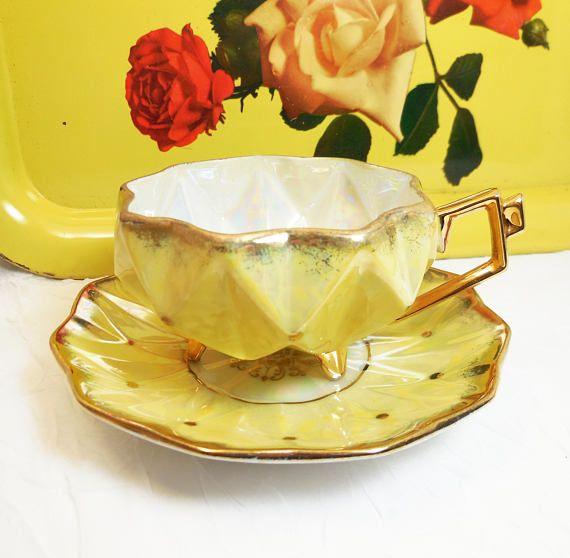 Yellow Tea Cup & Saucer Set  Royal Sealy  Japan Vintage #specialTweek #etsyspecialt