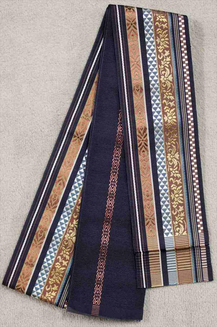 博多織り角帯 No.131  和柄・多色・茶・ブルー地の画像