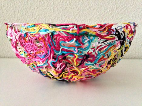 Yarn Ends Bowl.  For paste, mix ½ C flour & 2 C cold water in a bowl. Boil 2 C of water in a pan and add the flour & cold water mixture. Bring to a boil again. Remove from heat & add 3 T sugar. Let cool. Paste will thicken as it cools.