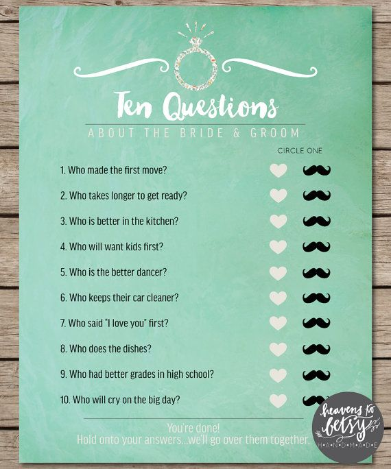 Mint Watercolor Ten Questions Bridal Shower & Wedding Game INSTANT DOWNLOAD by HTBHandmade