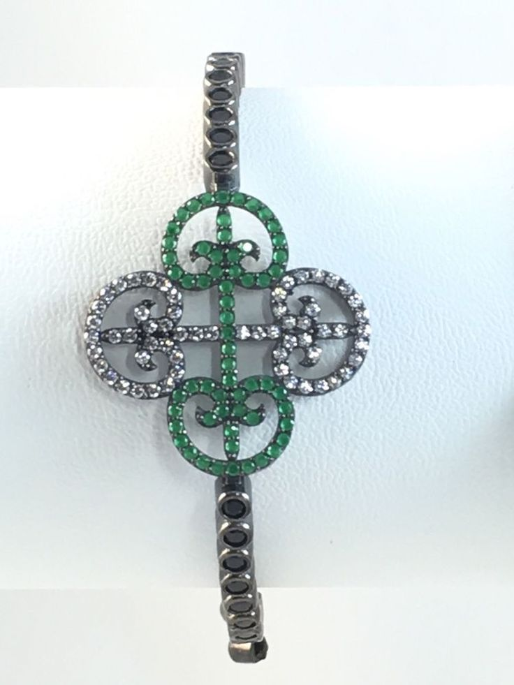 925K Sterling Silver Handmade Emerald Onyx Tennis Bracelet | eBay
