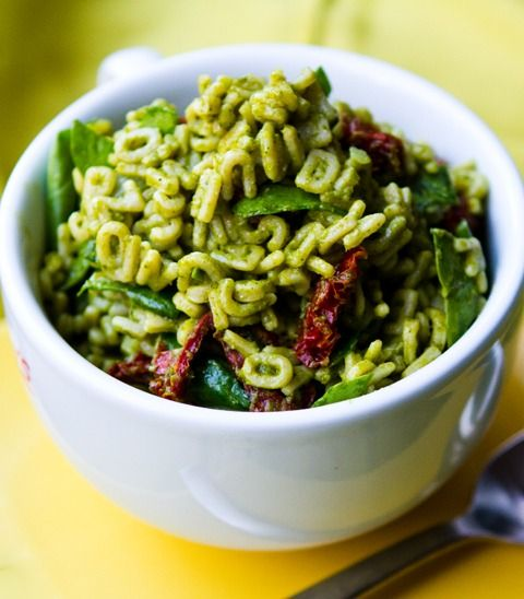 Try this fun and easy pesto alphabet pasta with sun-dried tomatoes. Get the recipe at babble.com
