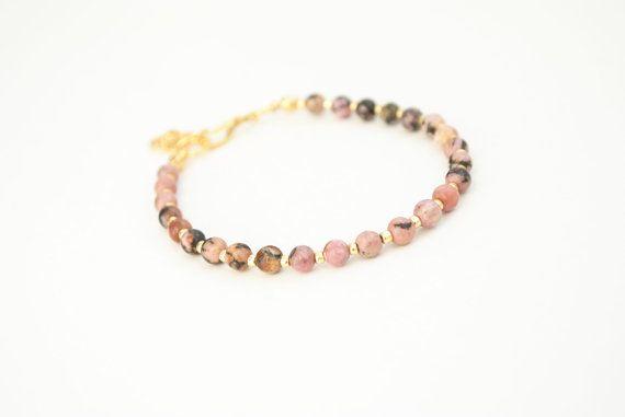 Pink rhodonite and gold bracelet friendship by elfinadesign