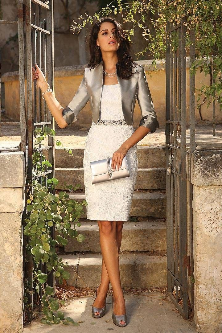 2015 New Strapless Knee Length White Silver Lace Sheath Column Mother Of The Bride Dress With Jacket B2lr0005