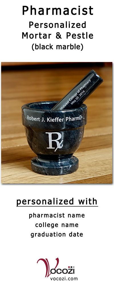"""Doctor of pharmacy (PharmD) black and gray marble mortar and pestle is personalized with pharmacist's name, college of pharmacy and graduation date. Measures 5 3/4"""" high with pestle resting in mortar. Make a great pharmacy school graduation or pharmacy PGY1 residency gift."""