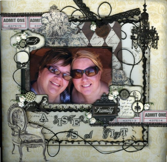 Black & cream masterclass layout using Studio G papers, chipboard, brads and alphabet stickers