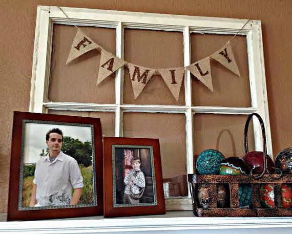 FAMILY Mini Burlap Banner Bunting Pennant Garland ..We Do Custom Banners..Your color choice.. on Etsy, $12.00