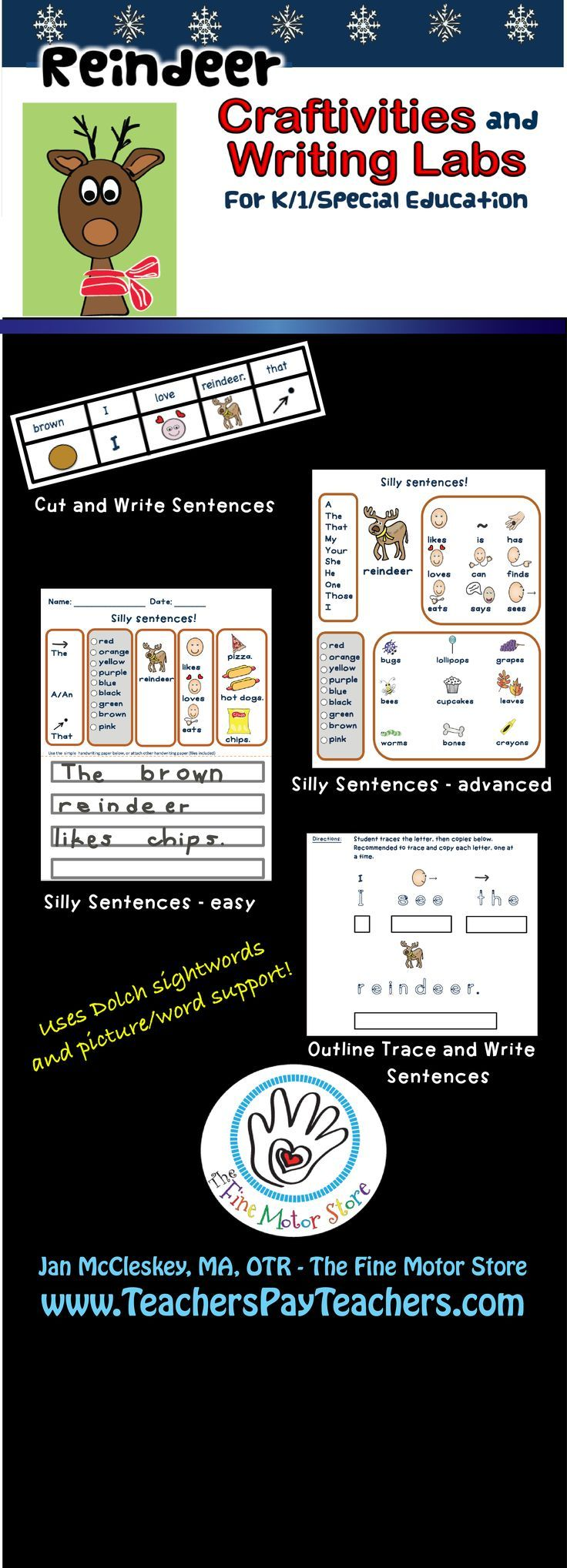 Crafts and writing labs with differentiated instruction. Perfect for kindergarten, first grade, and special education. Picture/word support and dolch sight words. Includes 2 crafts plus coloring pages and reindeer fact page. Perfect writing labs for December!