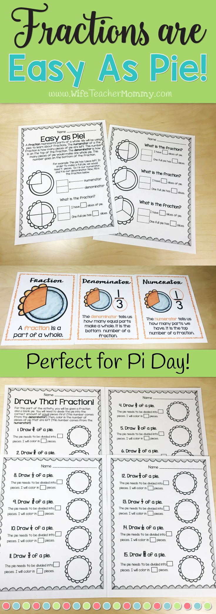 Fractions worksheets for 3rd grade and 4th grade! These can be used for Pi Day Worksheets or Thanksgiving worksheets. These aren't just your normal worksheets- but a great way to make the concept a lot more fun! Also comes with a fun mini-lesson to introduce the concept of fractions to the students. 3rd grade math worksheets, 4th grade math worksheets. Pi Day worksheets. #piday #fractions