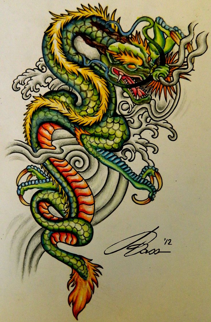 Color in japanese art - Chinese Dragon Art I Love All Of The Bright Colors