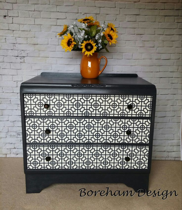 ****SOLD****Set of Drawers £175 Black gloss finish with a black and white geometric design to the front. Smaller than usual, so more versatile, can be used as a large bedside table - two are available. Size: Wide: 76cm, Height: 70cm. Depth: 44cm