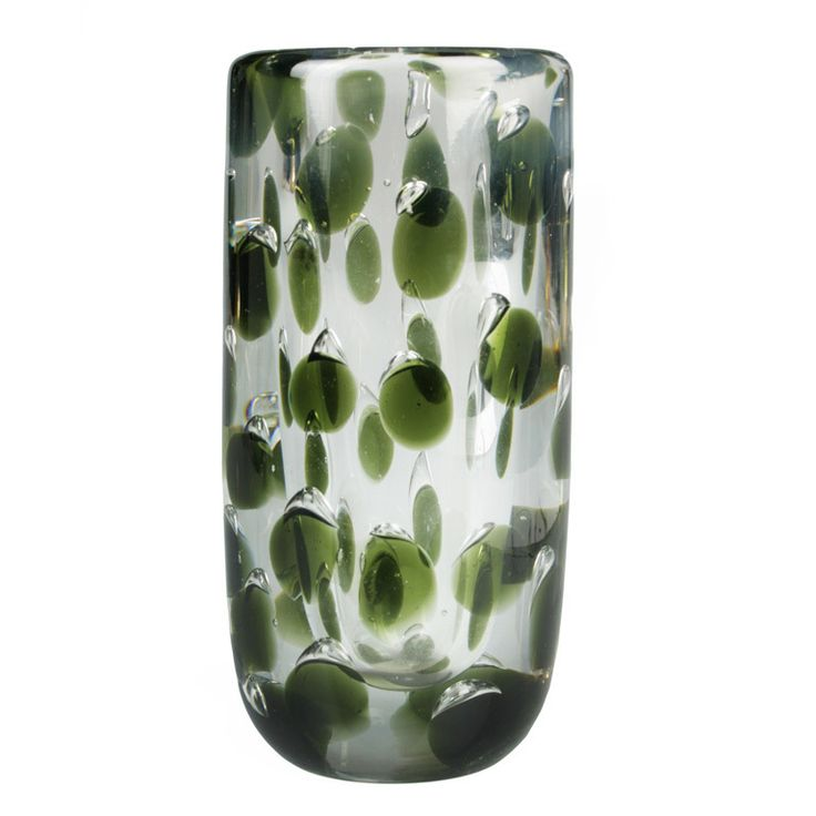 """Modernist Panthera Vase by Saara Hopea for Nuutajarvi Finland 1950's This is a graphic mid century Panthera Vase with green """"spots"""" and bubbles by Saara Hopea1(1925-1984)"""