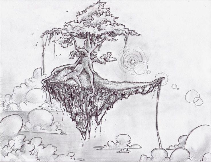 фантастический лес рисунок карандашом пристальных