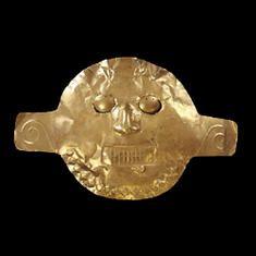 Máscara funeraria en oro. Malagana, 200 a.C. – 200 d.C. Palmira, Valle del Cauca. 26,30 x 41,40 cm / Mask Gold 200 b.C. – A.D. 200 Palmira, Valle del Cauca