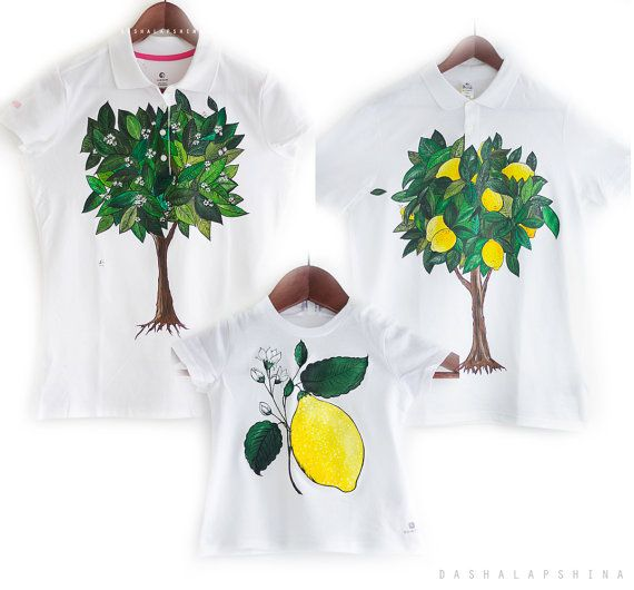 Set of 3 Hand painted Tshirts 3 pcs t-shirts for by SpringHoliday