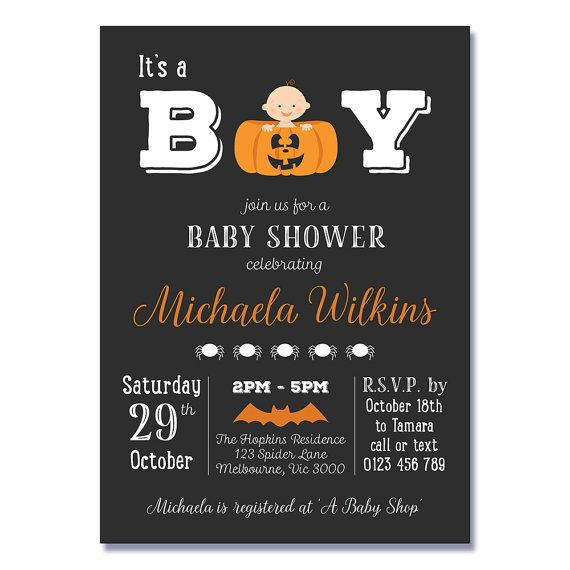 baby shower invitations pumpkin by kateclarestudio halloween baby