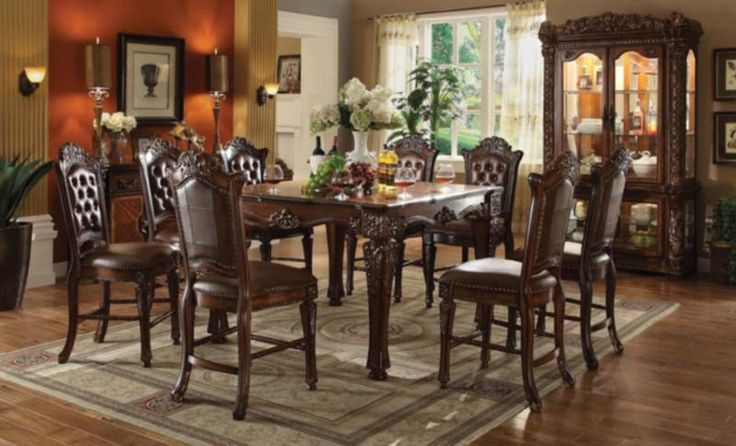 Acme Furniture - Vendome 10 Piece Square Counter Height Table Set in Cherry - 62025-10SET
