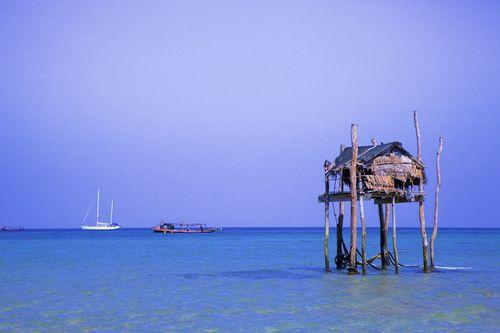 A Moken sea nomad stilt house in the Mergui Archipelago