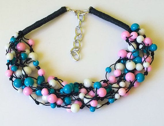 Light handmade necklace white-pink-blue by EmilyArtHandmade