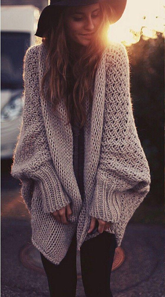Khaki Plain Hollow-out Long Sleeve Loose Cardigan Sweater