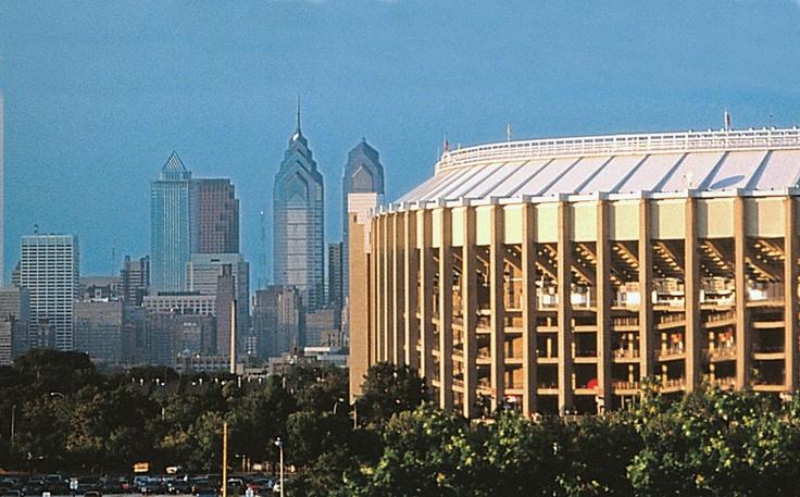 Veterans Stadium with the city of Philadelphia in the background