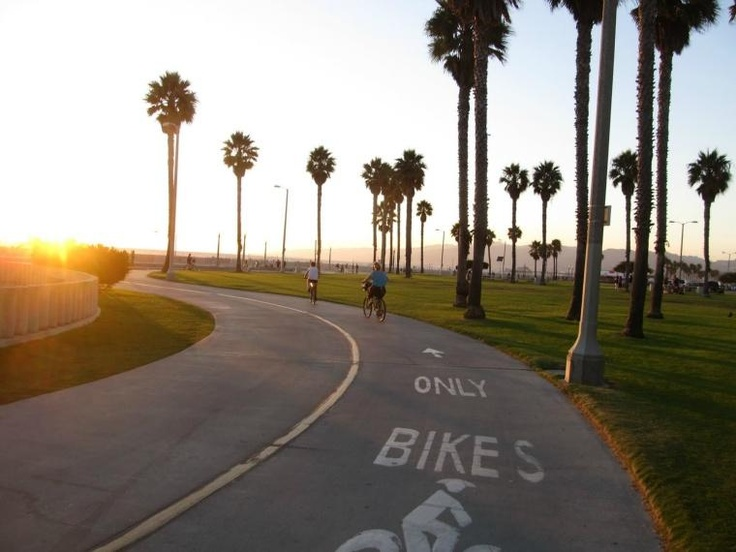 Bike path near Venice Beach, California. Family vacations on #minitime.