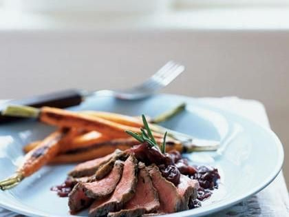 Rosemary Salt-Crusted Venison with Cherry-Cabernet Sauce | This recipe also works well with rich meats such as pork tenderloin and duck breast. Store leftover Rosemary Salt in an airtight container, and use it to flavor mashed potatoes, polenta, or roasted chicken. Serve with roasted baby carrots.