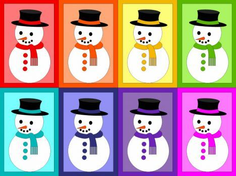 A jigsaw puzzle for kids - snowmen (12 pieces)