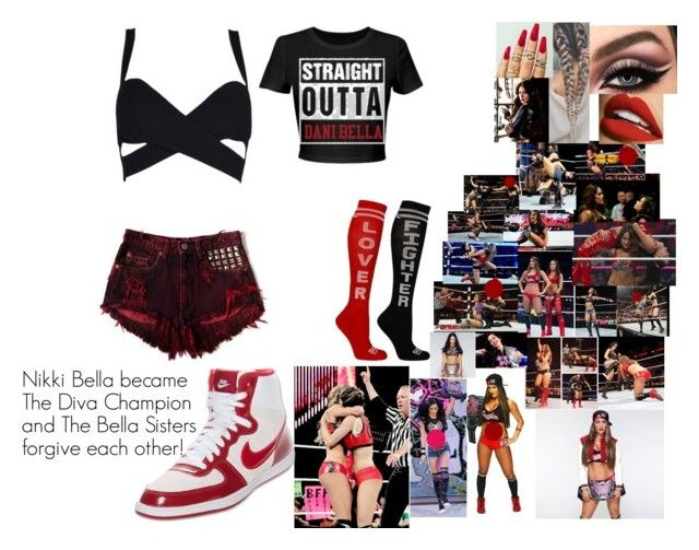 """""""Nikki Bella became The Diva Champion and The Bella Sisters forgive each other!"""" by safia4life ❤ liked on Polyvore featuring WWE and NIKE"""