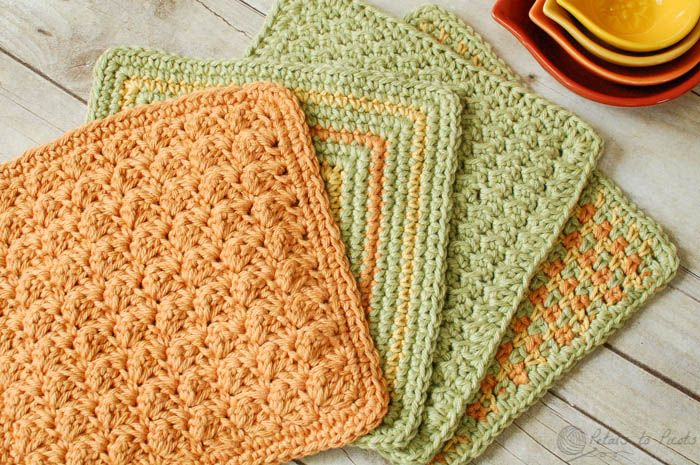 Crochet Stitches Tunisian : ... , Crunchy Stitch Dishcloth, and Three Color Simple Stitch Dishcloth