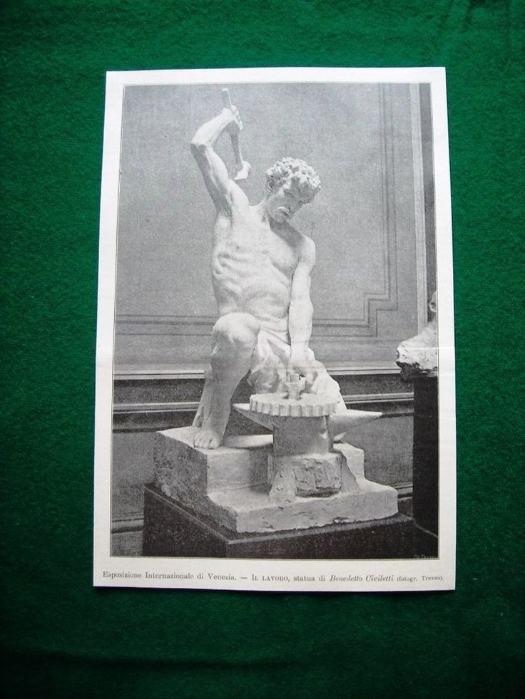 Esposizione internazionale Venezia 1895 - Il Lavoro, statua di Benedetto Civiletti