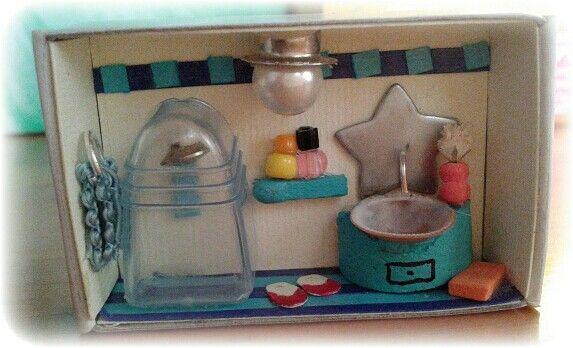 Doll house bathroom matchbox