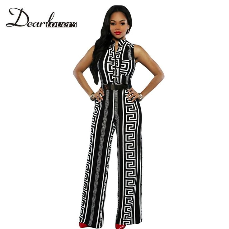 Dear lover Stylish Long Jumpsuits For Women Black Print Gold Belted Summer Overalls Combinaison Sexy Playsuits 2017 LC64021