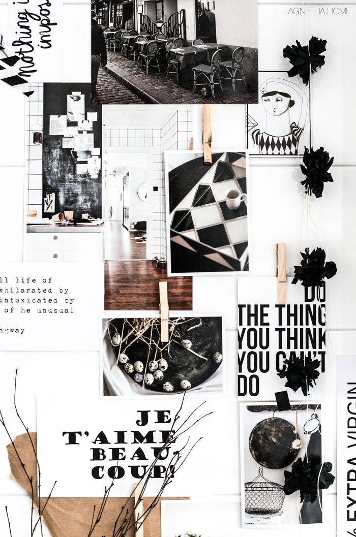 black & white with wood | moodboard || colors