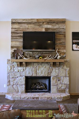 Barn Wood Accent Wall for the Fireplace Oh My Gosh I am absolutely in LOVE with this! I so want this in my house. Wish I knew someone who could do this for me