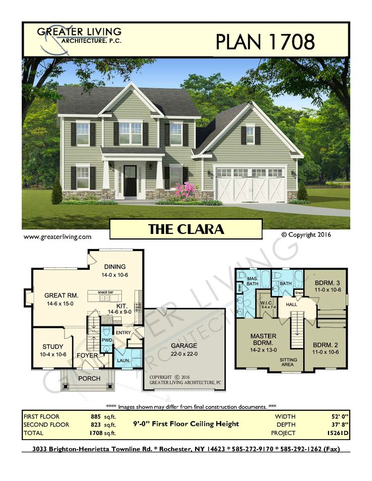 Plan 1708: THE CLARA- Two Story House Plan - Greater Living Architecture - Residential Architecture