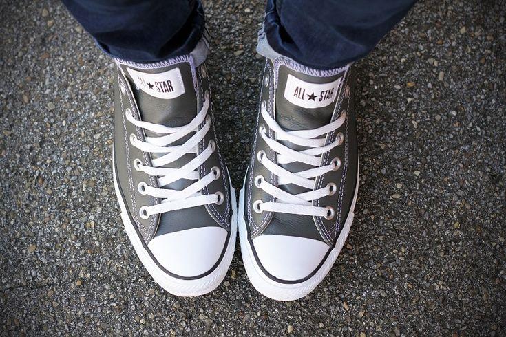 #fashion #shoes converse grigie in pelle