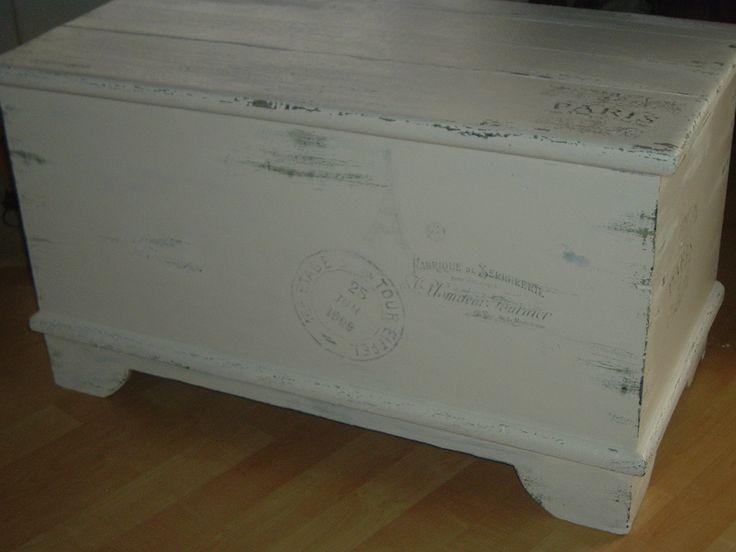 1880's Mennonite blanket box gone shabby with French labels.