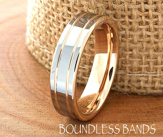 rose gold wedding band ring 6mm 18k two tone man wedding band male women custom laser - Gold Wedding Rings For Men
