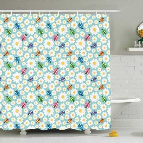 Found it at Wayfair - Cartoon Daisies and Ladybugs Shower Curtain Set