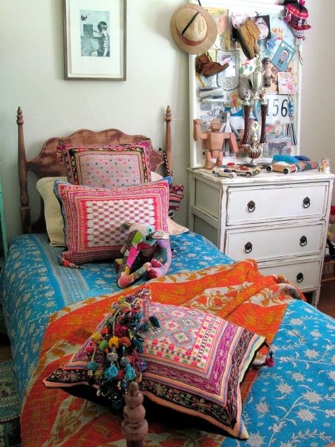 bedroom with ethnic textiles, @gypsyriver