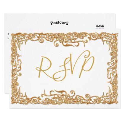 RSVP Elegant Script Modern Faux Gold White Gold Card - wedding invitations cards custom invitation card design marriage party