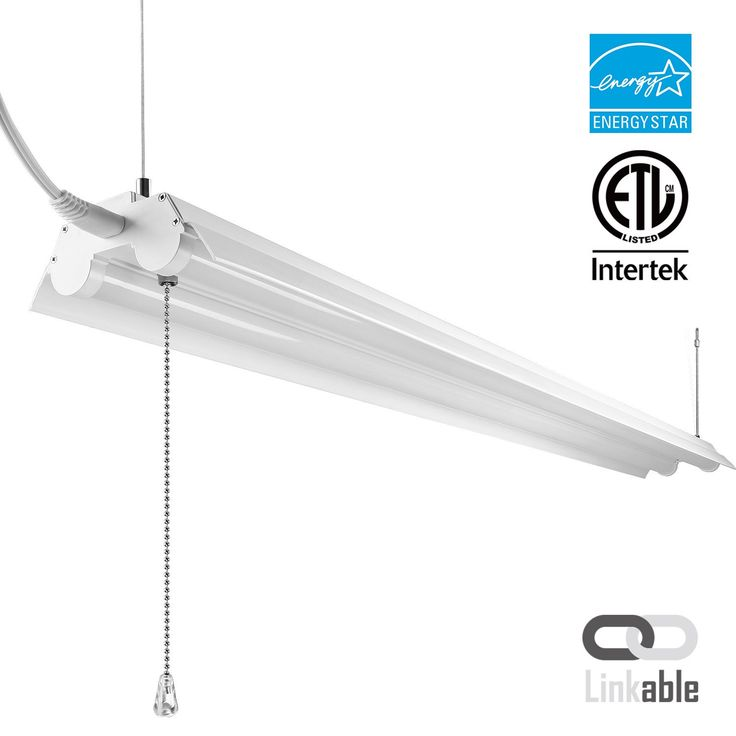 4ft Linkable LED Shop Light, 2-Tube T8 LED, 40W,Pull Chain Switch (4000k cool white - 1)