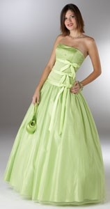Lime Green/pale green bridesmaid dress, ribbons, lacy layers