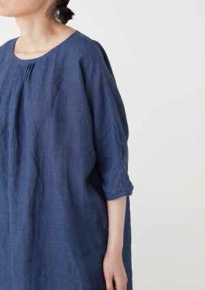 flw - severine tunic : blue de chine linen / nacre linen / black silk